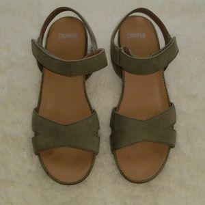 Camper Micro K200116-010 Olive Suede Wedge Sandal